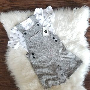 George   🆕️Overall 2-Piece Set Size 5T Gray White